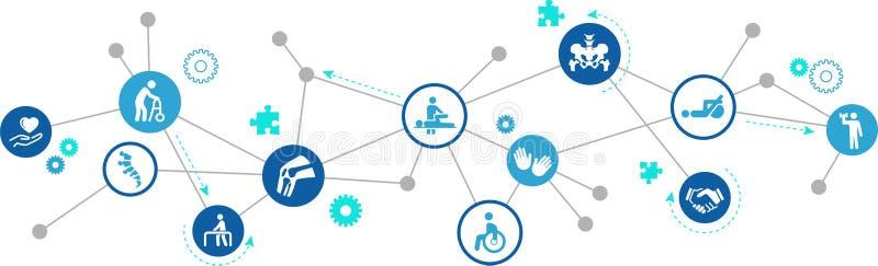 Concepto del icono de la fisioterapia/de la quiropráctica/de la ortopedia - terapia, rehabilitación - ejemplo stock de ilustración