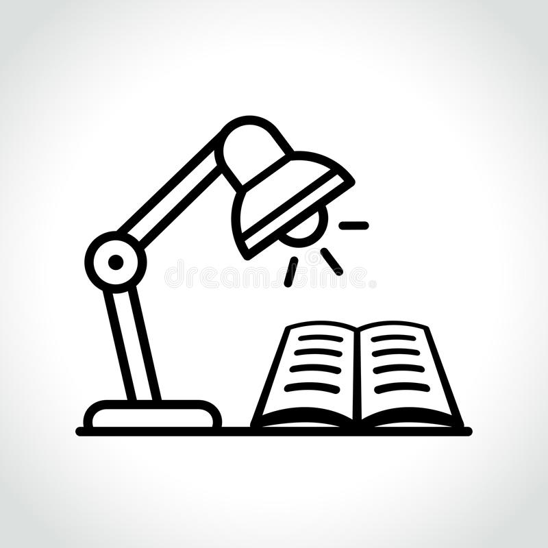 Concepto del icono de la lámpara y del libro stock de ilustración