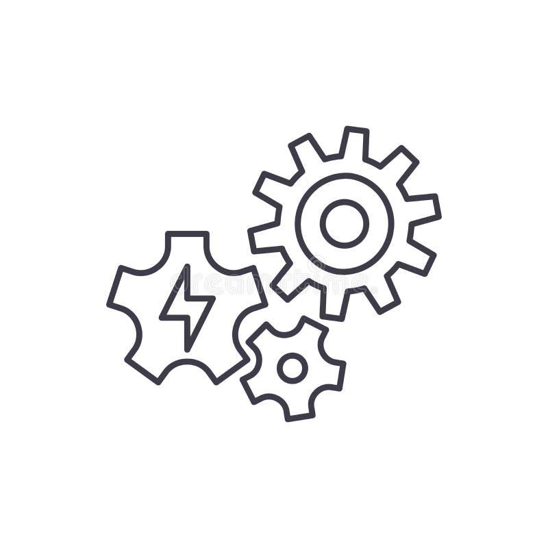 Concepto del icono de la línea de suministro del poder Ejemplo linear del vector de la fuente de alimentación, símbolo, muestra libre illustration