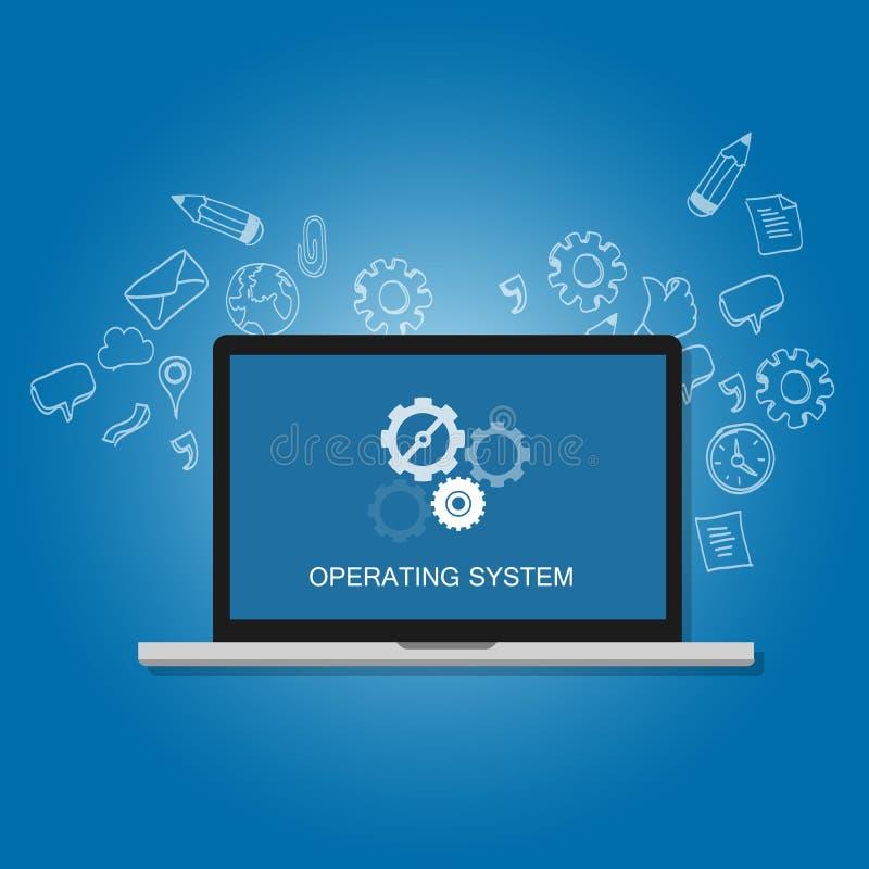 Concepto del icono del engranaje de la pantalla del ordenador portátil del ordenador del software del sistema operativo del OS ilustración del vector