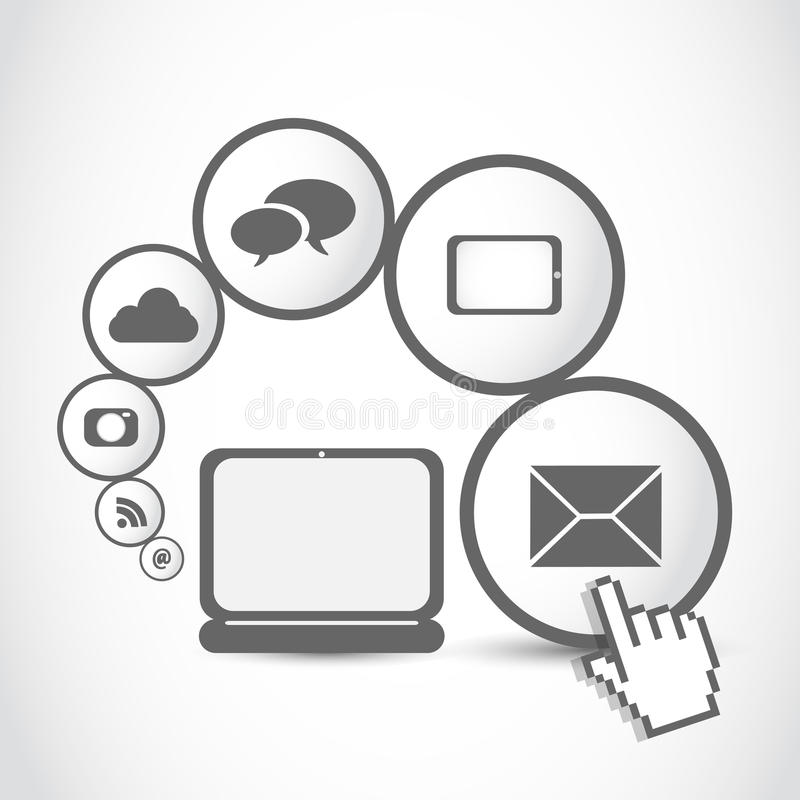 Concepto del icono del Internet del ordenador de la tablilla de la computadora portátil ilustración del vector