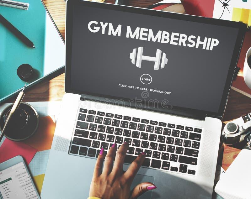 Concepto del icono del peso del ejercicio de la calidad de miembro del gimnasio fotos de archivo libres de regalías