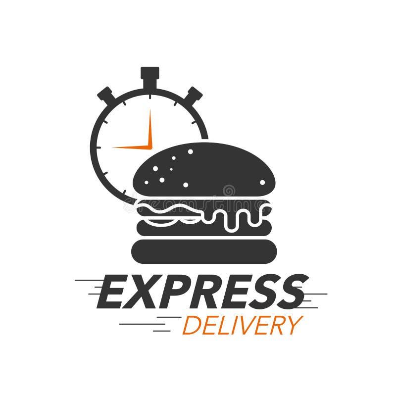 Concepto del icono del envío express Hamburguesa con el icono del cronómetro libre illustration