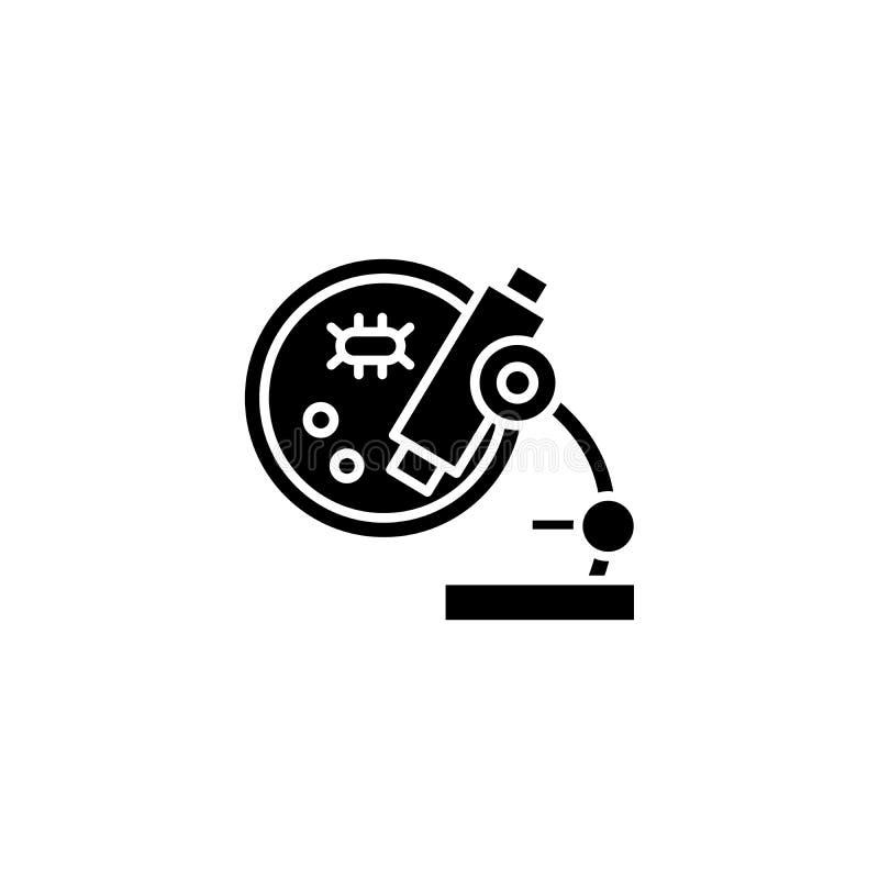 Concepto del icono del negro del análisis microscópico Símbolo plano del vector del análisis microscópico, muestra, ejemplo ilustración del vector