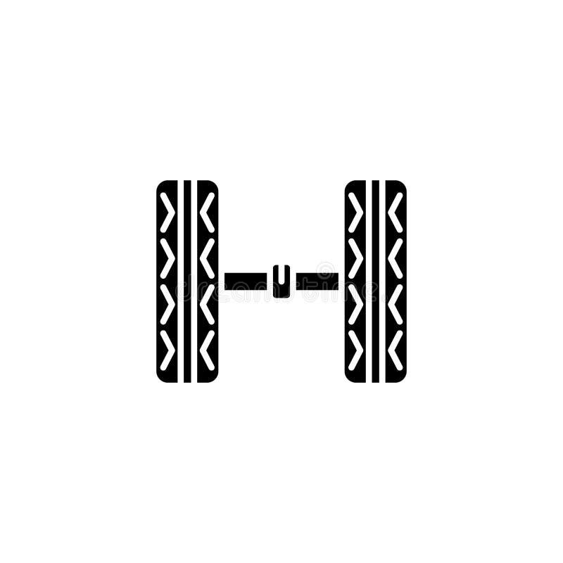 Concepto del icono del negro del chasis del coche Símbolo plano del vector del chasis del coche, muestra, ejemplo stock de ilustración