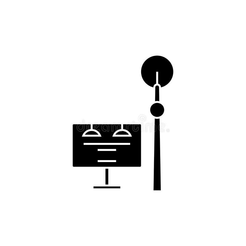 Concepto del icono del negro de la torre de comunicación Muestra del vector de la torre de comunicación, símbolo, ejemplo ilustración del vector