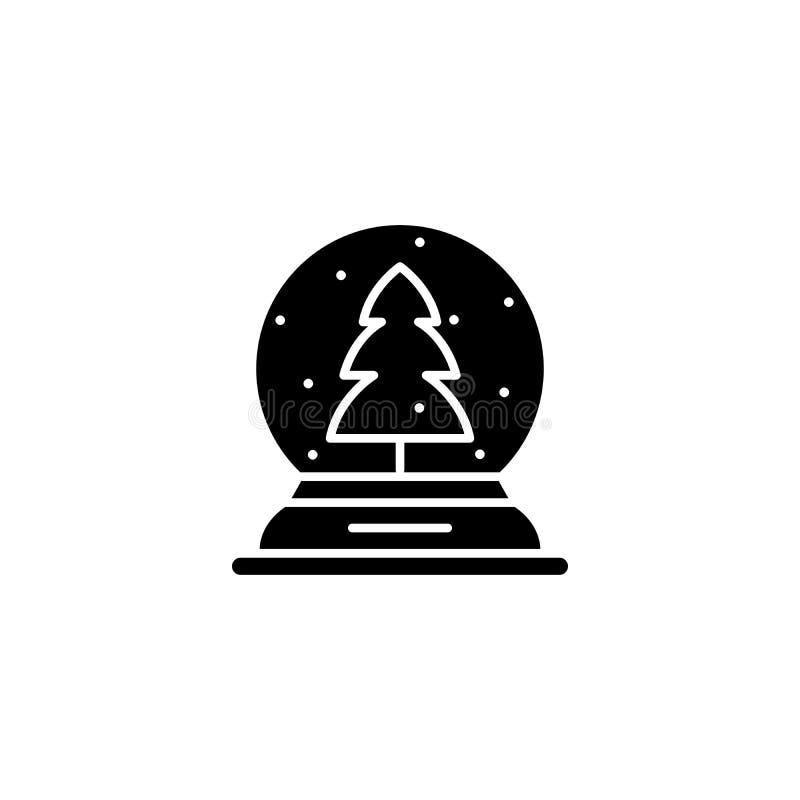 Concepto del icono del negro del globo de la nieve Símbolo plano del vector del globo de la nieve, muestra, ejemplo ilustración del vector