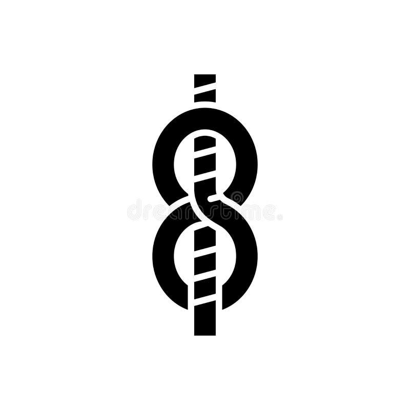 Concepto del icono del negro del nudo del ` s del marinero Símbolo plano del vector del nudo del ` s del marinero, muestra, ejemp ilustración del vector