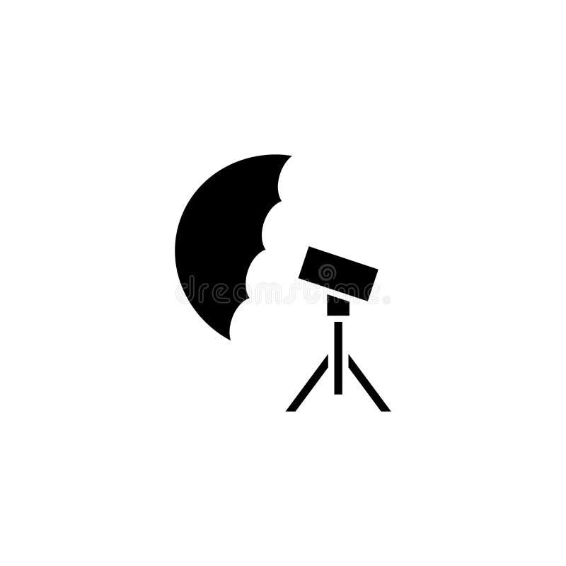 Concepto del icono del negro del paraguas de la foto Símbolo plano del vector del paraguas de la foto, muestra, ejemplo stock de ilustración