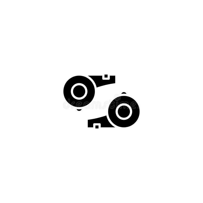 Concepto del icono del negro del silbido del ` s del árbitro Símbolo plano del vector del silbido del ` s del árbitro, muestra, e stock de ilustración