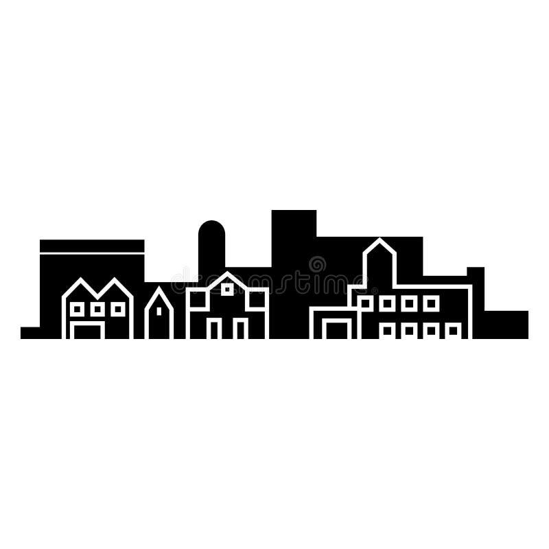 Concepto del icono del negro del skyblack del pueblo Muestra del vector del skyblack del pueblo, símbolo, ejemplo ilustración del vector