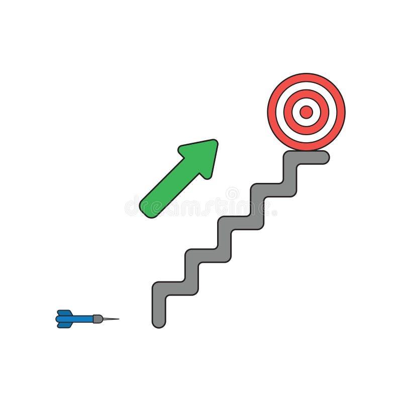 Concepto del icono del vector de dardo, flecha que muestra la blanco del ojo de toros en la parte superior de las escaleras stock de ilustración