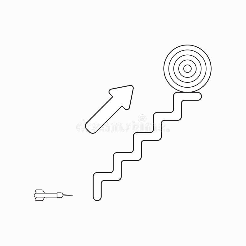 Concepto del icono del vector de dardo, flecha que muestra la blanco del ojo de toros en la parte superior de las escaleras ilustración del vector
