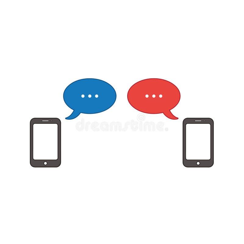 Concepto del icono del vector de dos smartphones con dos burbujas del discurso libre illustration
