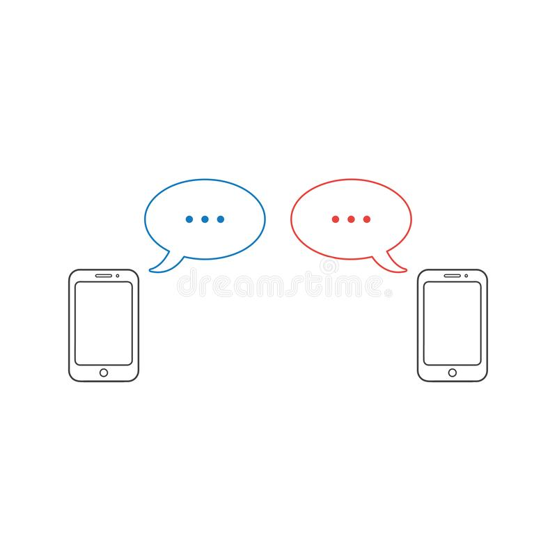 Concepto del icono del vector de dos smartphones con dos burbujas del discurso stock de ilustración