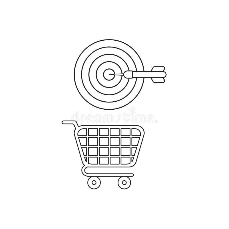 Concepto del icono del vector de golpe la blanco del ojo de toros con el dardo sobre el carro de la compra Esquema negro libre illustration
