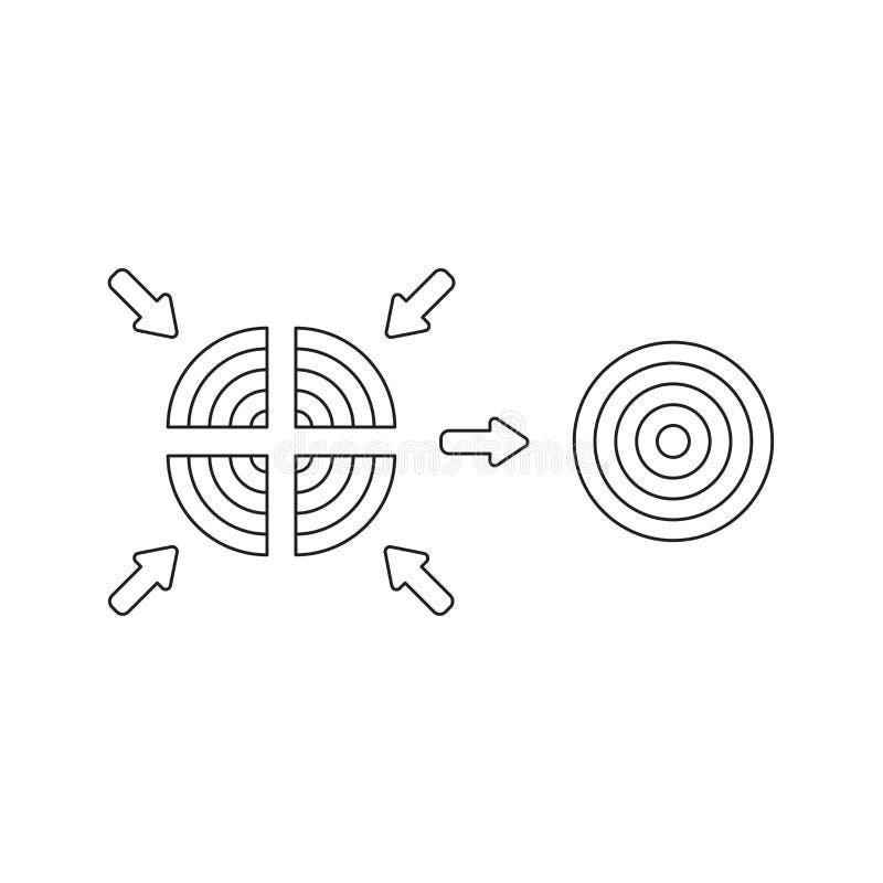 Concepto del icono del vector de ojo de toros de cuatro partes y unir Esquema negro libre illustration