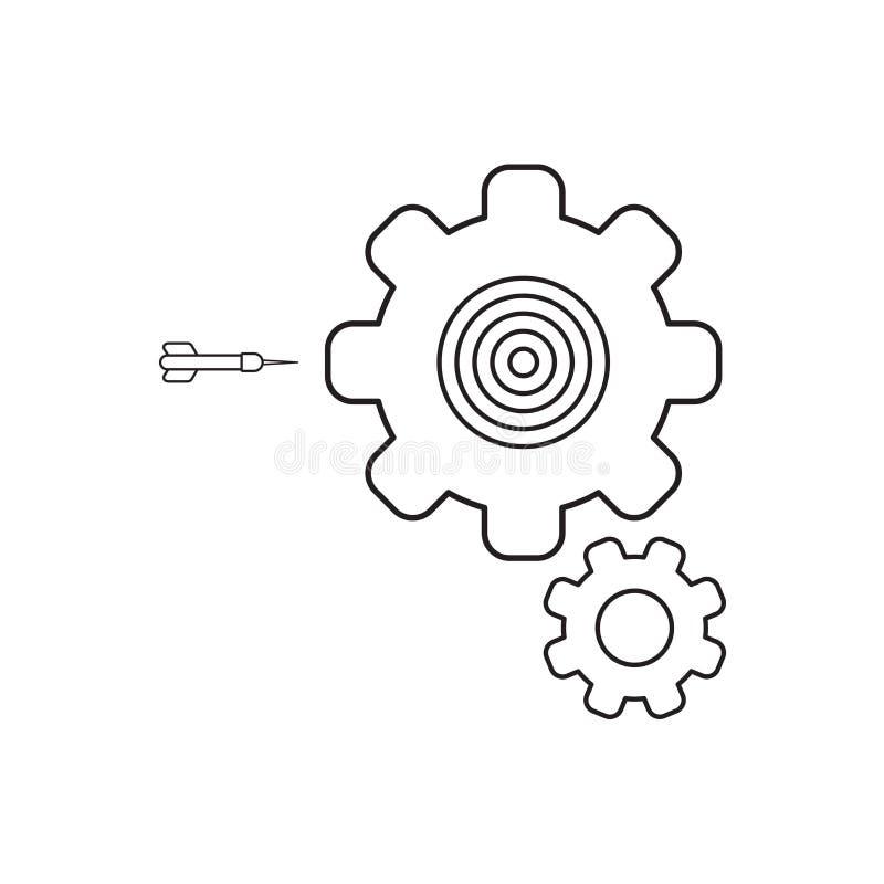 Concepto del icono del vector de ojo de toros dentro del engranaje con el dardo Esquema negro ilustración del vector