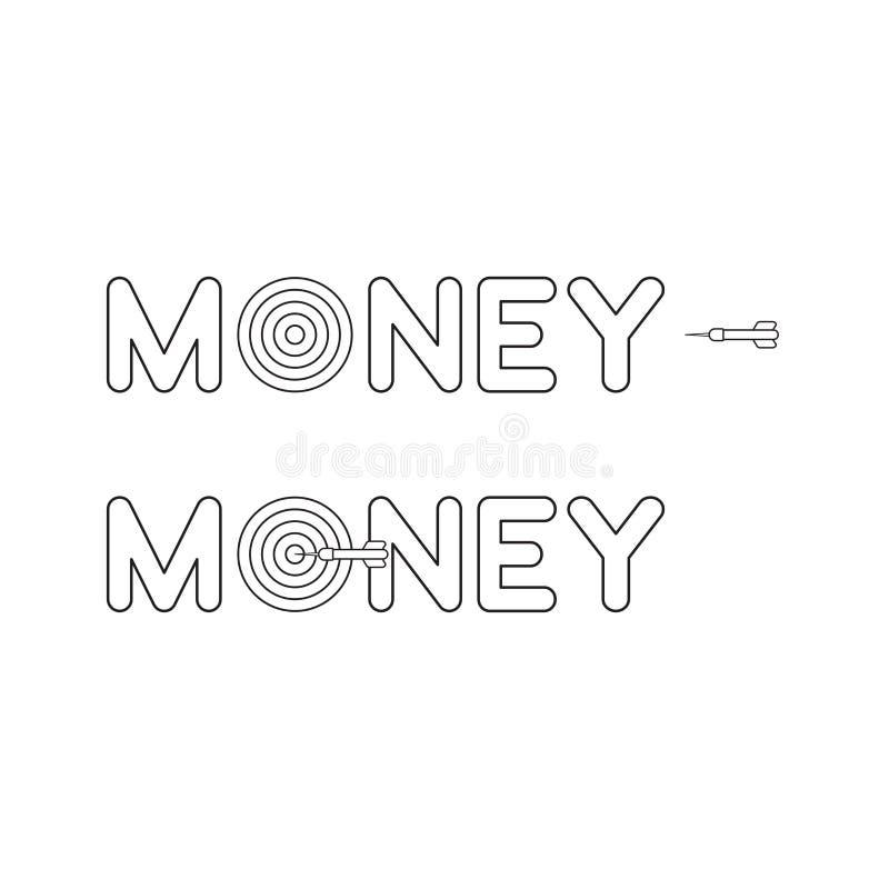 Concepto del icono del vector de palabra del dinero con el ojo de toros y el dardo y golpear la blanco Esquema negro libre illustration