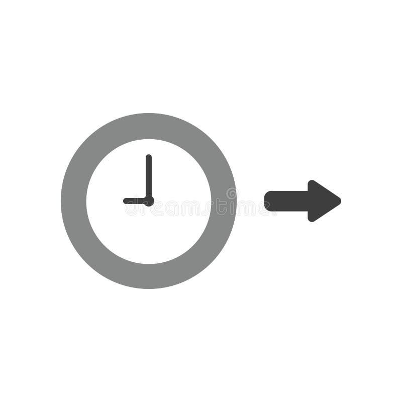 Concepto del icono del vector de reloj con la flecha que señala la derecha libre illustration