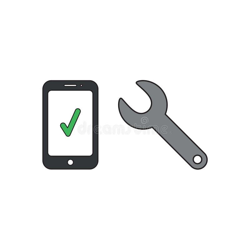 Concepto del icono del vector de smartphone con la marca de verificación y la llave inglesa ilustración del vector