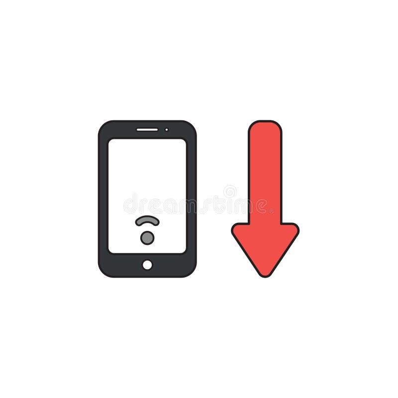 Concepto del icono del vector de smartphone con la señal inalámbrica baja del wifi y de flecha que se baja libre illustration