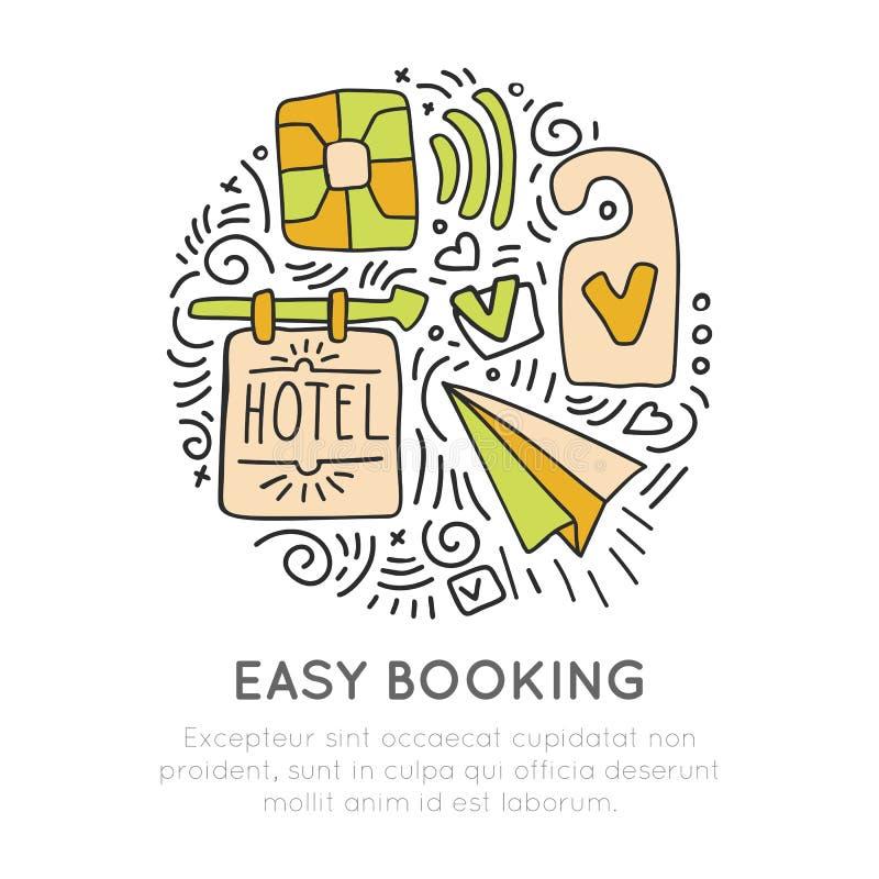 Concepto del icono del vector del hotel y de los resortes de la reservación vidrios del champán, estilo cartooning del drenaje de stock de ilustración