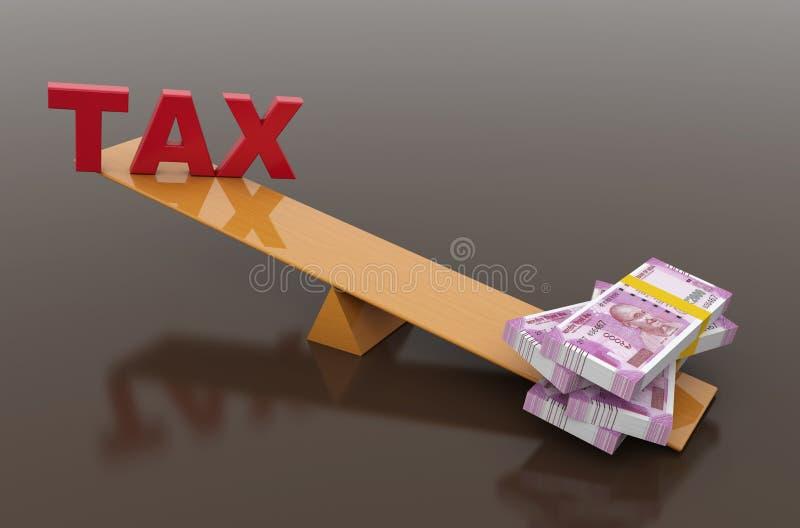 Concepto del impuesto con moneda india ilustración del vector