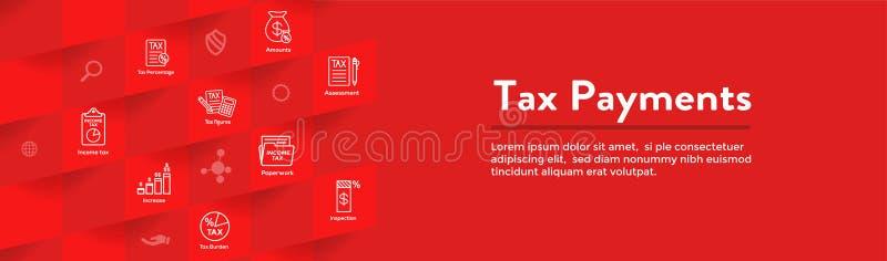 Concepto del impuesto - el porcentaje la idea pag?, del icono y de la renta Portada plana de la web del ejemplo del esquema del v ilustración del vector