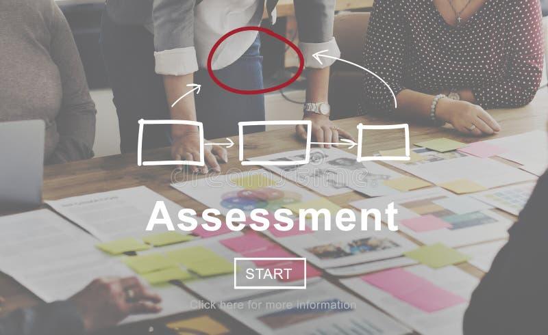 Concepto del informe de la gestión del análisis de la evaluación de la evaluación fotos de archivo libres de regalías