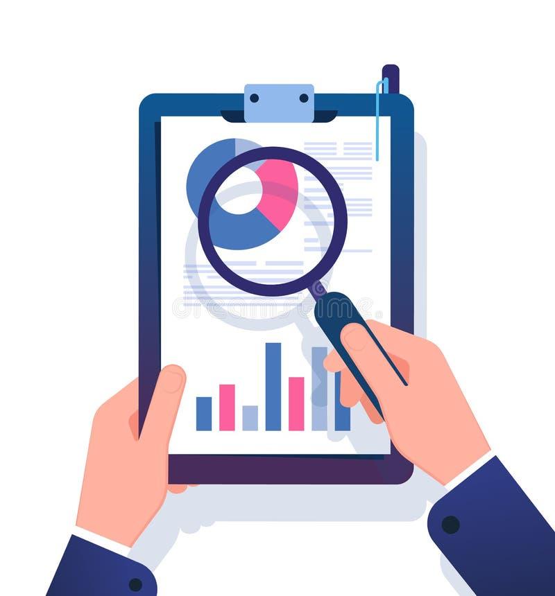 Concepto del informe de negocios Hombre de negocios que investiga el documento financiero de la oficina con la lupa Vector del an libre illustration