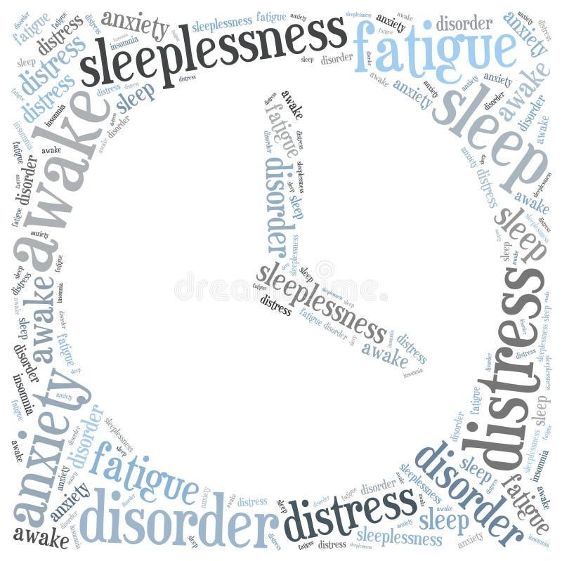 Concepto del insomnio o del insomnio Ejemplo de la nube de la palabra ilustración del vector