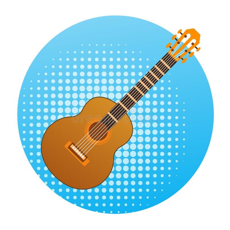 Concepto del instrumento de música del icono de la guitarra acústica libre illustration
