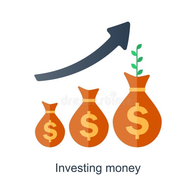 Concepto del interés compuesto El tiempo es oro Crecimiento futuro de la renta Plan del fondo de jubilación stock de ilustración
