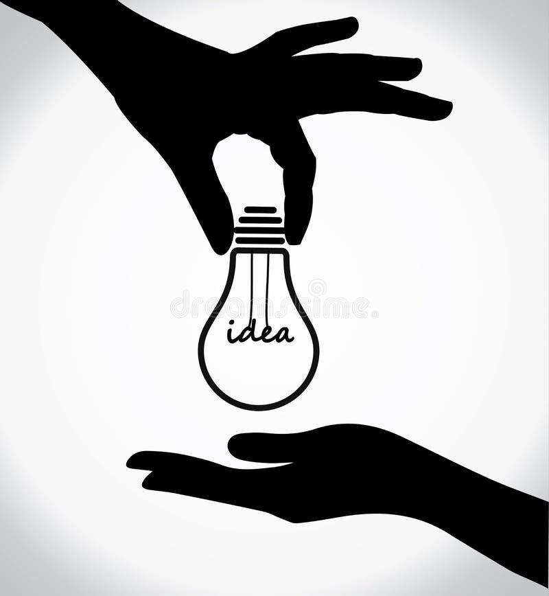 Concepto del intercambio de la idea de la silueta de la mano libre illustration