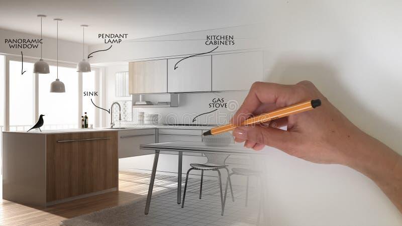 Concepto del interiorista del arquitecto: dé el dibujo de un diseño proyecto interior y la escritura de notas, mientras que el es imagenes de archivo