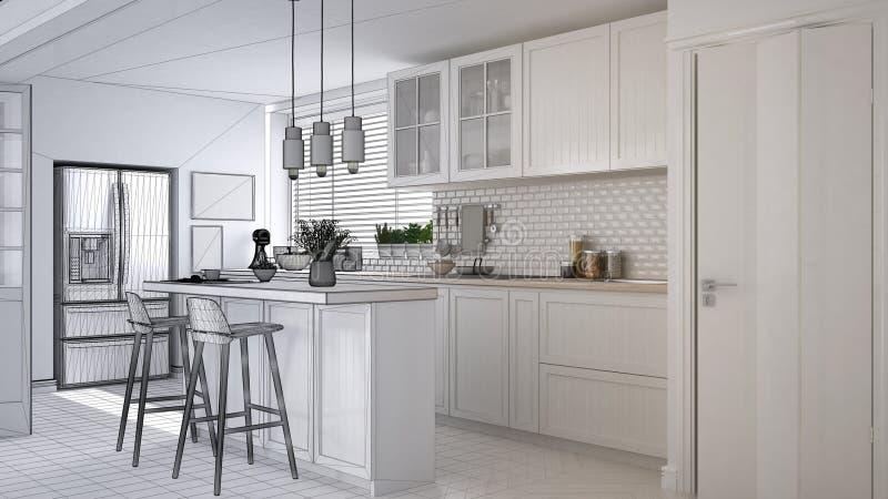 Concepto del interiorista del arquitecto: proyecto inacabado que se convierte en cocina escandinava real, moderna, gabinetes, isl ilustración del vector