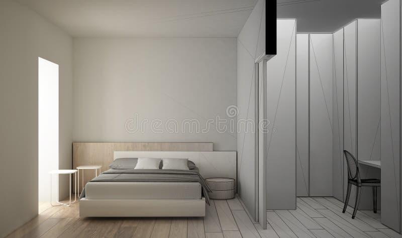 Concepto del interiorista del arquitecto: proyecto inacabado que se convierte en dormitorio blanco y de madera moderno real, mini libre illustration