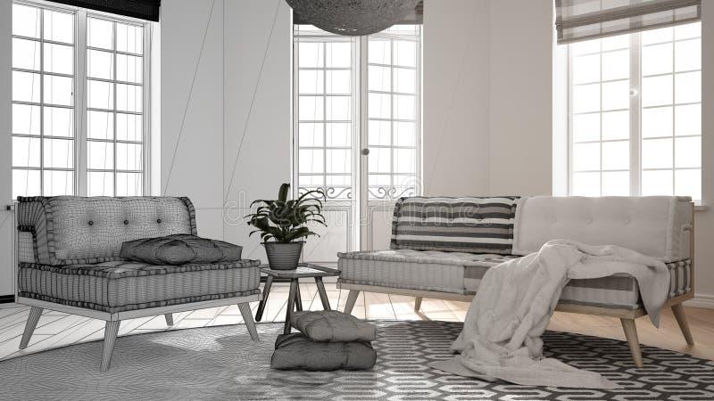 Concepto del interiorista del arquitecto: proyecto inacabado que se convierte en sala de estar minimalista real, escandinava con  libre illustration