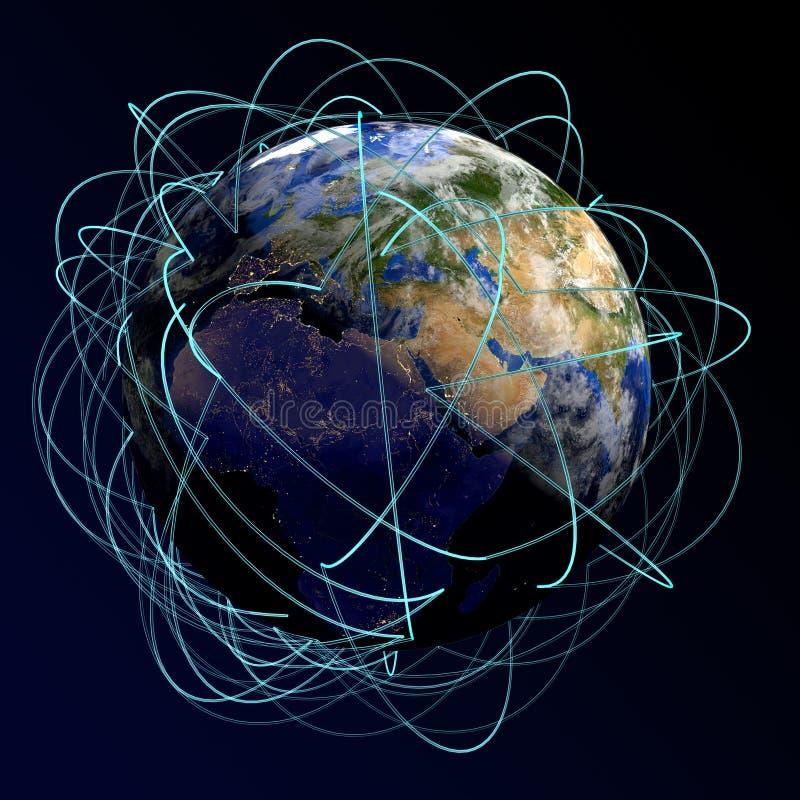 Concepto del Internet de asunto global Rutas de aire principales en Europa, África, Asia 3d rinden libre illustration