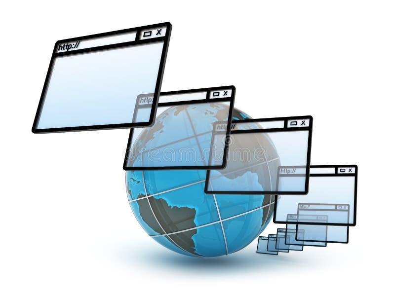 Concepto del Internet en el fondo blanco stock de ilustración