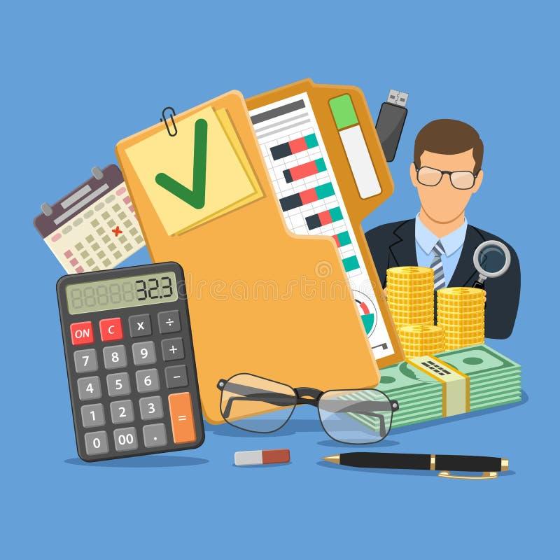 Concepto del interventor y de contabilidad stock de ilustración