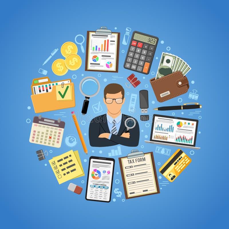 Concepto del interventor y de contabilidad ilustración del vector