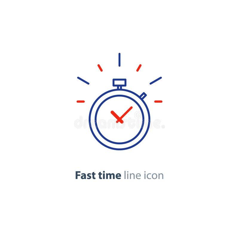 Concepto del límite de tiempo, icono linear rápido de los servicios de entrega, contador de tiempo de sonido stock de ilustración