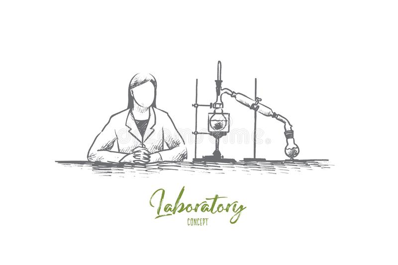Concepto del laboratorio Vector aislado dibujado mano libre illustration