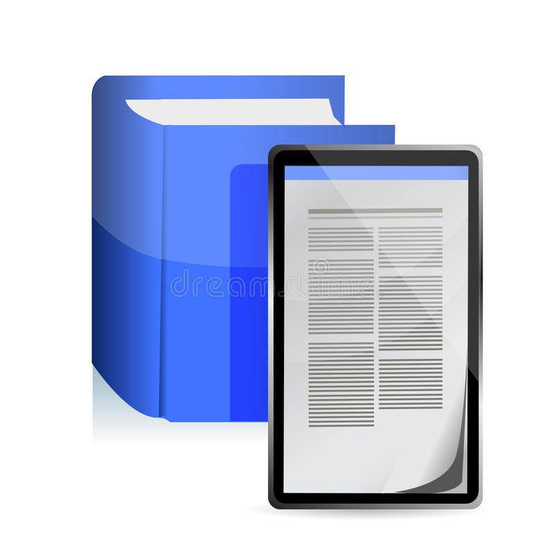 Concepto del lector de EBook. PC de la tableta ilustración del vector