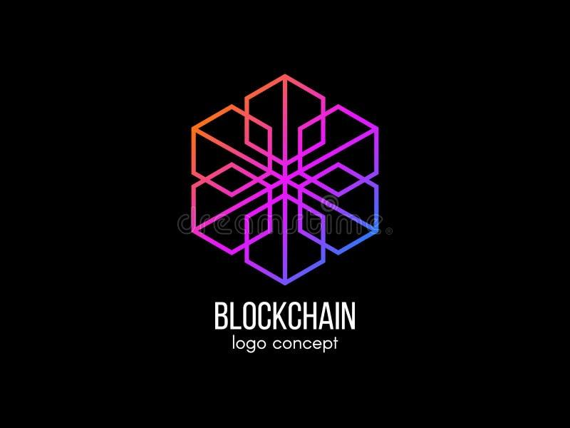 Concepto del logotipo de Blockchain Diseño moderno de la tecnología Logotipo del cubo del color Cryptocurrency y etiqueta del bit ilustración del vector