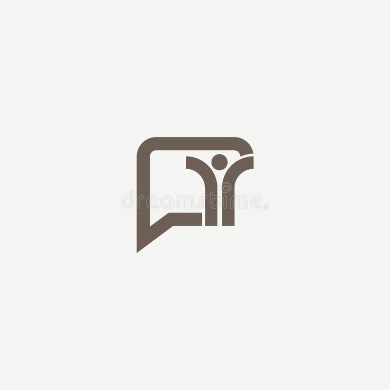 Concepto del logotipo de charla, medio, suave, escritura del diálogo, ventana emergente, centro de ayuda, perfil, fechando softwa stock de ilustración