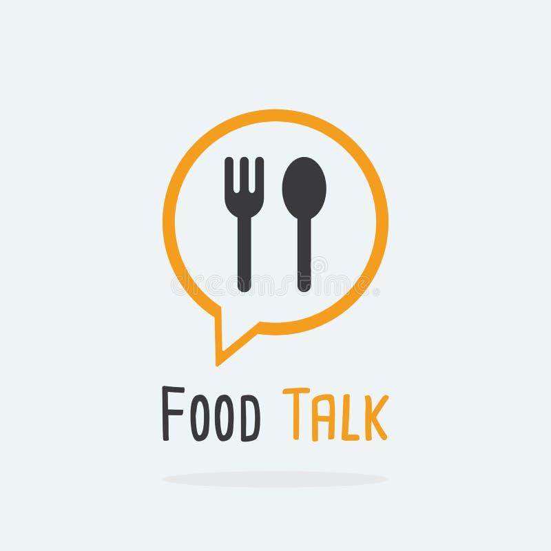 Concepto del logotipo de la charla de la comida con el icono de la cuchara y de la bifurcación stock de ilustración