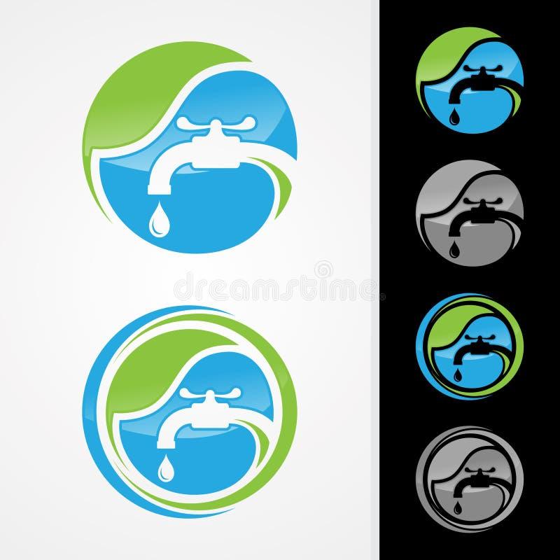 Concepto del logotipo de la compañía de la fontanería de Eco libre illustration